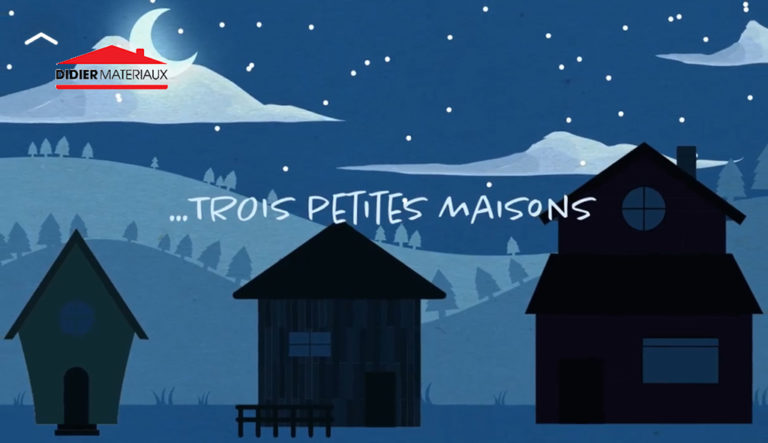 Illustration de 3 petites maisons avec paysage de nuit